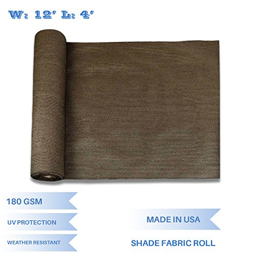 E&K Sunrise 12' x 4' Brown Sun Shade Fabric Sunblock Shade Cloth Roll, 95% UV Resistant Mesh Netting Cover for Outdoor,Backyard,Garden,Greenhouse,Barn,Plant (Customized