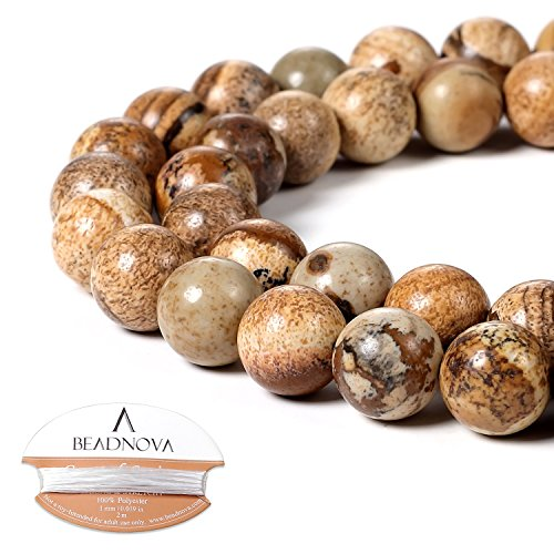 BEADNOVA 10mm Brown Picture Jasper Gemstone Round Loose Beads for Jewelry Making (38-40pcs) Brown Round Beads