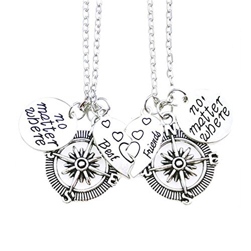 Udobuy2 Pcs Silver Best Friends No Matter Where Compass Necklaces Set Heart Best Friend Gifts for Teen Girls BFF Friendship Necklaces