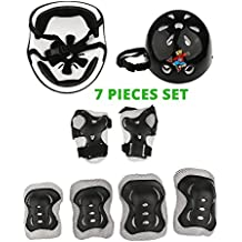 Kids Safety Gear - Cycling Sports Protective Gear pads Set is 7 Pieces Helmet Knee Elbow wrist Pads for children - Multi Sports Use Inline Roller Skate Hoverboard Bmx Skateboard safety