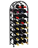 PAG 23 Bottles Arched Free-Standing Floor Metal Wine Rack Holders Stands with 4 Adjustable Foot Pads, Black For Sale