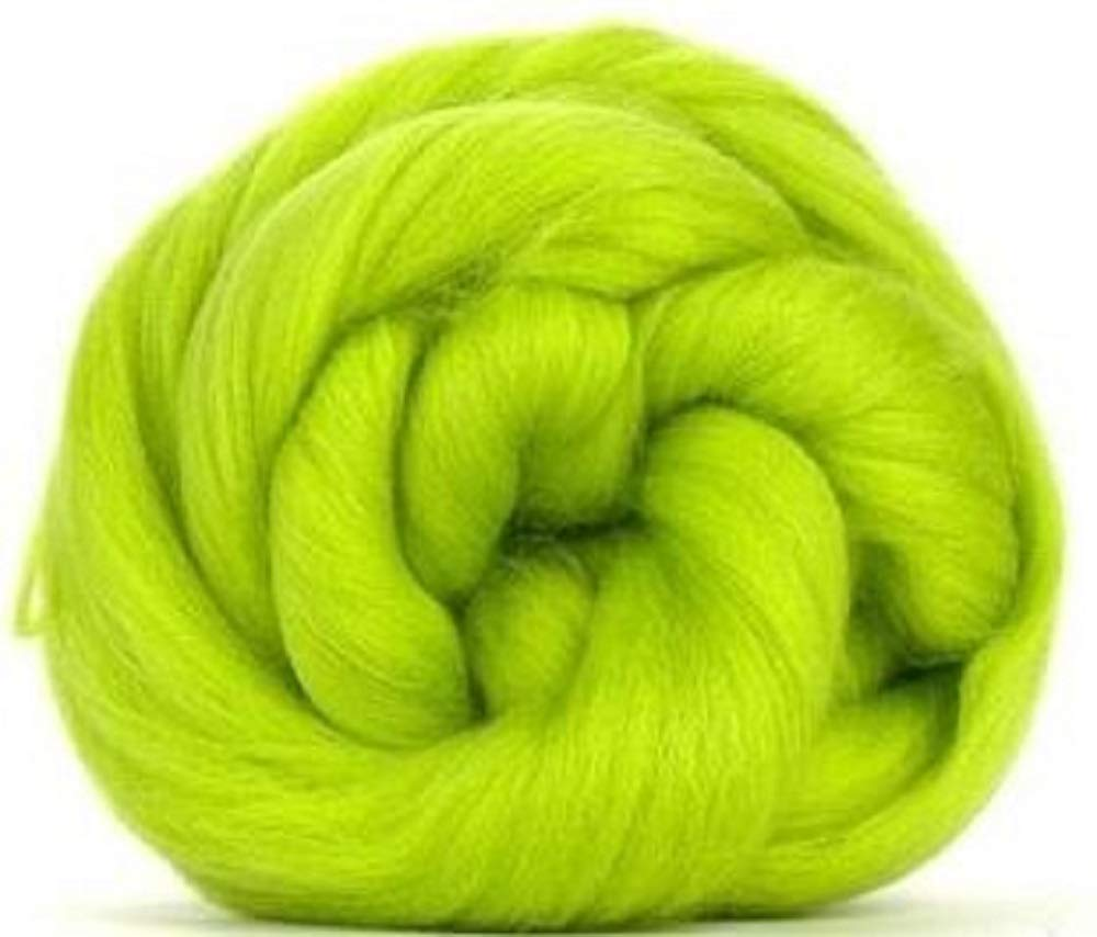 4 oz Paradise Fibers 64 Count Dyed Citrus (Green) Merino Top Spinning Fiber Luxuriously Soft Wool Top Roving for Spinning with Spindle or Wheel, Felting, Blending and Weaving