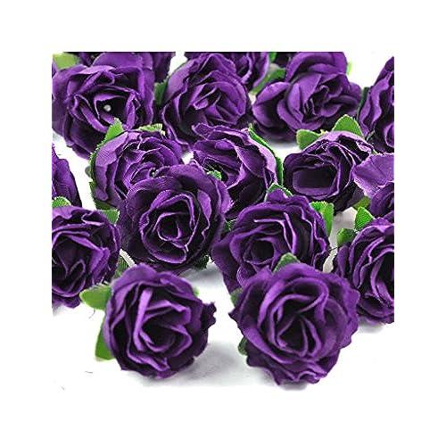 Violet silk flowers amazon zacoo silk small tea bud silk flower heads 50pcs silk violet 30mm mightylinksfo