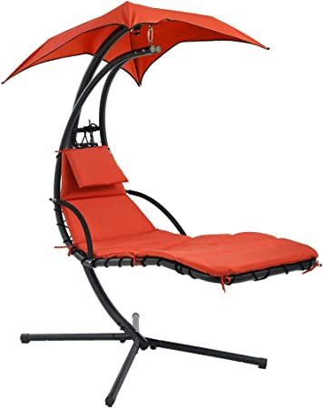 Amazon Com Hanging Chaise Lounger Chair Arc Stand Air Porch Swing Hammock Chair Canopy Garden Outdoor