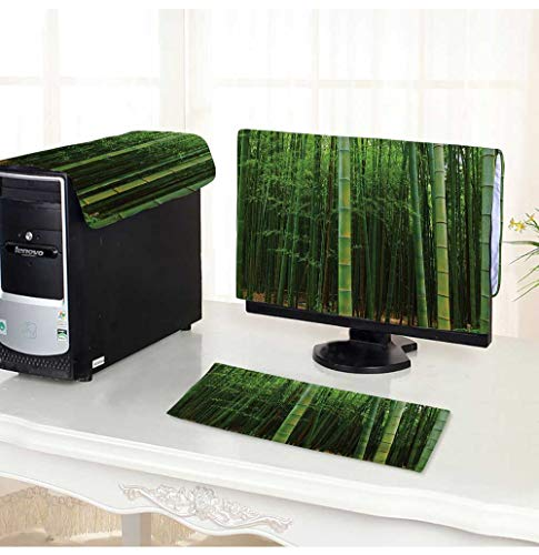 (Leighhome Computer dustproof Three-Piece Bamboo Forest Exotic Fresh Jungle Visi with Tall Shoots Tropic for LED LCD Screens Flat Panel HD Display /22