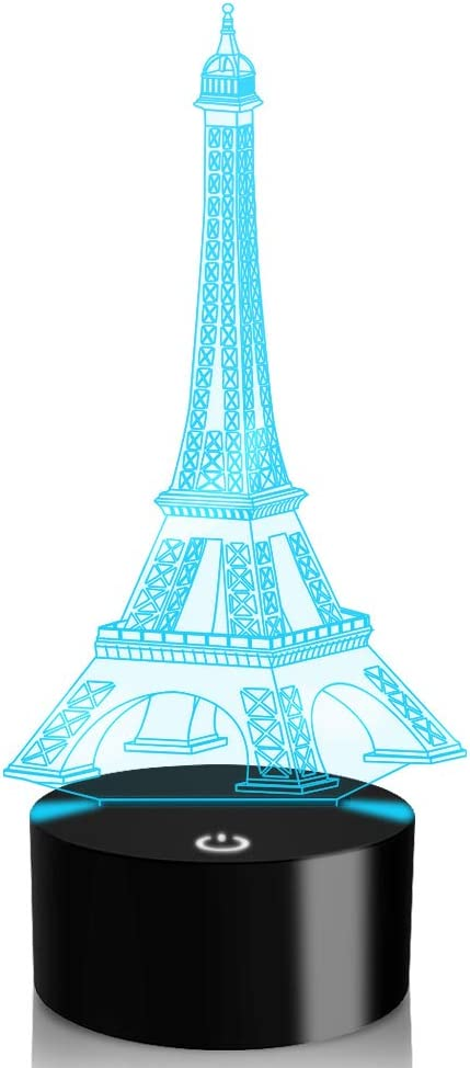 YKL World 3D Illusion Lamp Eiffel Tower LED Night Light Touch Control 7 Colors Changing Table Lamp Bedroom Bedside Decor Lighting Christmas Birthdays Gifts for Boys Girls Toys