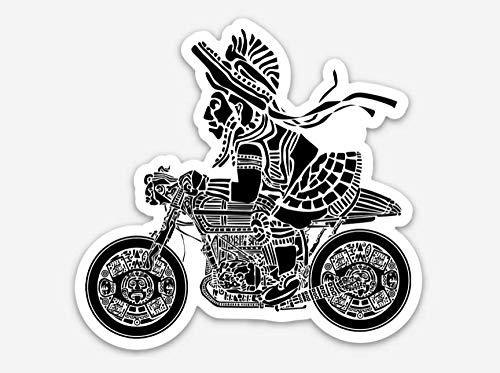 Mayan Warrior On A Cafe Racer Illustration On A Vinyl Sticker BellavanceInk