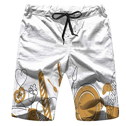 Cool pillow Bakery Bread House Food and Drink Men'S Swim Trunks and Workout Shorts Swimsuit Or Athletic Shorts - Adults Boys S