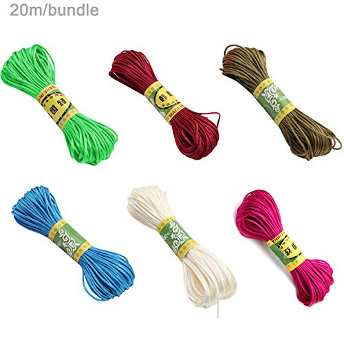 Full-Colors 6 Bundles 1.5mm Satin/Rattail Silk Cord for Necklace Bracelet Beading Cord ()