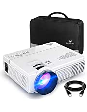 VAN KYO Mini Projector, 1080P and 200'' Display Supported, Portable Movie Projector with 50,000 Hrs LED Lamp Life, Compatible with TV Stick, PS4, HDMI, VGA, TF, AV and USB for Home Theater and Entertainment