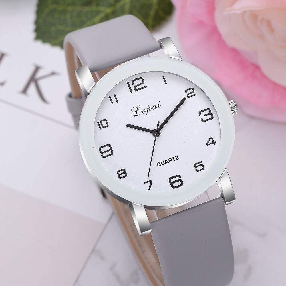 Xi-Link Simple à Quartz Blanc Montres-Bracelets Femme Montre Mode Sport Band Cuir Casual Mesdames Montres Femmes (Color : White) Black