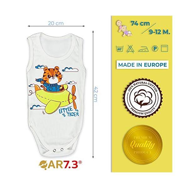 QAR7.3 Completo Vestiti Neonato 9-12 mesi - Set Regalo, Corredino da 5 pezzi: Body, Pigiama, Bavaglino e Cuffietta… 4