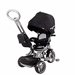 Qplay 6-in-1 Deluxe Baby Stroller Tricycle with One Button Rotating Seat BLACK