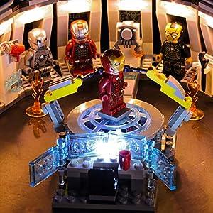 YVSoo Kit Lumières pour Lego La Salle des Armures d'Iron Man, Kit d'Éclairage LED Jeu de Lumières Compatible avec Lego…