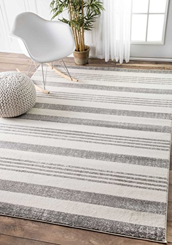 Contemporary Parallels Stripes Geometric Grey Area Rugs, 7 Feet 10 Inches by 10 Feet 10 Inches(7' 10