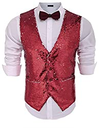 Men's Slim Fit Shiny Sequins Vest