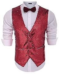 Men's Slim Fit Shiny Sequins Waistcoat