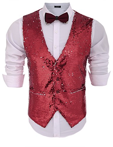 COOFANDY Men's Slim Fit Sequins Vest V-Neck Shiny Party Dress Suit Stylish Vest Waistcoat
