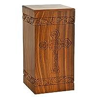Fine Craft India Solid Hand Carved Fine Natural Wood with Border Design - Adult (Large Wooden Urn)