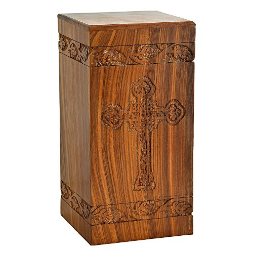 Fine Craft India Solid Hand Carved Fine Natural Wood with Border Design - Adult (Large Wooden Urn)