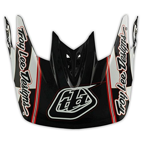 Troy Lee Designs D3 Thunder Visor Off-Road Motorcycle Helmet Accessories - Black/White/Red/One Size
