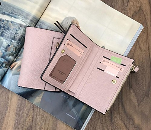 Diyafas Elegante Damen Bifold Kurz Portemonnaie Frauen Reißverschluss Geldbörse Kartenhalter Clutch Tasche Rosa szQBYN2N