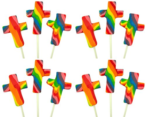 First Communion Candy - Fruit Flavored Swirl Cross Shape Lollipops Candy Suckers (Box of 12)