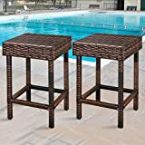 ZENY Wicker Bar Stools Backless Chair Outdoor Furniture 24 inch Dual Tone Brown, Set of 2