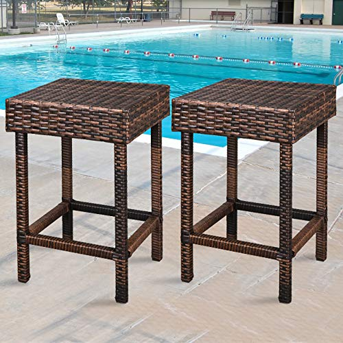 ZENY Wicker Bar Stools Backless Chair Outdoor Furniture 24 inch Dual Tone Brown, Set of 2 by ZENY