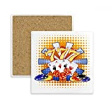 Casino Dice Chips Poker Illustration Square Coaster Cup Mug Holder Absorbent Stone for Drinks 2pcs Gift