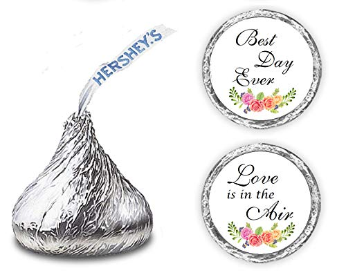 324 Floral Roses Best Day Ever, Love Is In The Air, Hershey Kiss Wedding Stickers, Bachelorette Kisses Labels Stickers For Weddings, Bridal Shower Engagement Party, Hershey's Kisses Party Favors