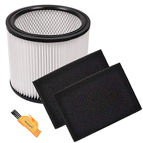 - KEEPOW Replacement 1 Cartridge Filter and 2 Foam Sleeve for Shop-Vac 5 Gallon, Up Wet/Dry Vacuum SS11-450, Part # 90304, 90585