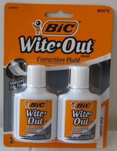 White Fluid - Bic Wite-Out Quick Dry Correction Fluid - 2 pack - white color writeout - white-out