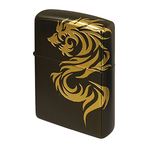 Zippo Dragon Tribal Tattoo Black Gold 3D Processing Japan Limited