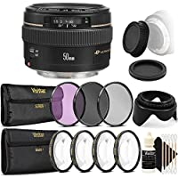Canon EF 50mm f/1.4 USM Standard Lens for Canon SLR Cameras - Fixed Lens with Accessories