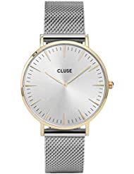 Cluse Womens La Boheme 38mm Steel Bracelet Metal Case Quartz Silver-Tone Dial Analog Watch CL18115