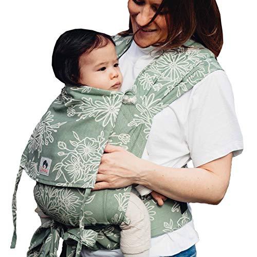 LIMAS Babytrage Halfbuckle | 50-86 cm | Bauchtrage & Rückentrage & Hüfttrage | ab Geburt bis Kleinkindalter | Baby Carrier | Blossom Green Lily
