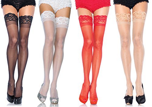 Leg Avenue Women's Thigh High Stockings with Silicone Lace T