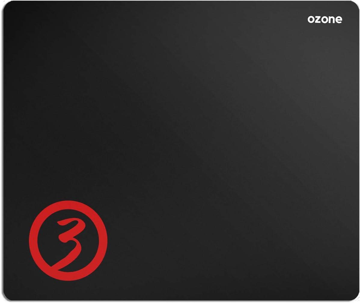 Alfombrilla Gaming Ozone Ground Level M - Diseño Gamer - Tamaño Intermedio - Ergonomica, Superficie Tela Suave, Base de Goma, Antideslizante, Negro