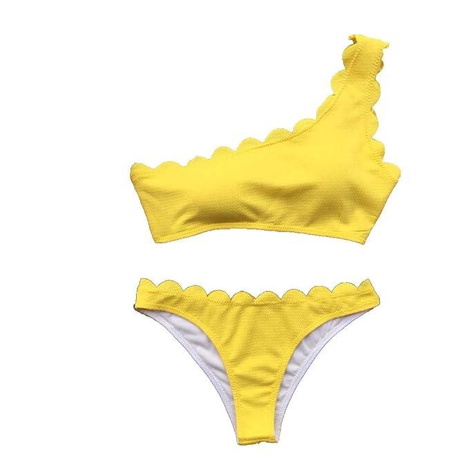 07d3cea19 Bañador Mujer 2019 Dos Piezas Conjunto Bikini Sexy Traje de baño de Onda de  un Solo Hombro Push-up Acolchado Ropa de Playa Braguitas Verano Gusspower   ...