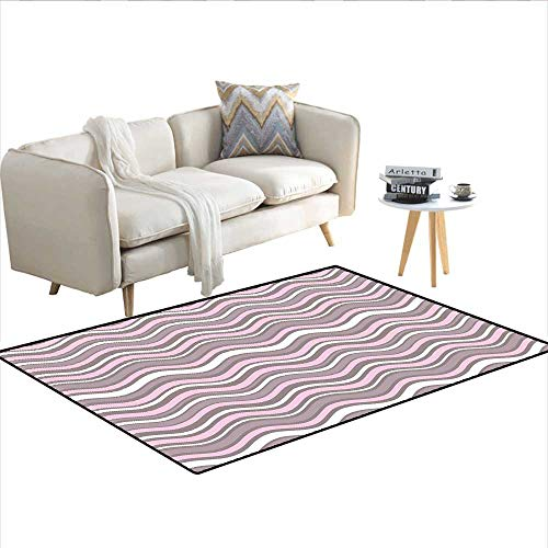 Rug,Wavy Horizontal Stripes Ocean Pattern Abstract Inspirations Sea Effect,Floor Mat for Kids,Warm Taupe Pink Cream 36