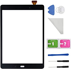 Black Touch Screen Digitizer Glass for Samsung Galaxy Tab A9.7 SM-T550 T550 T551 T555 (Not Include LCD) with Adhesive and Tools