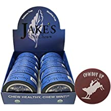 Jake's Mint Chew Straight Mint POUCH - 10 Cans - Includes DC Skin Can Cover (Cowboy Skin)