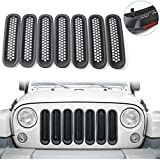 RT-TCZ Upgrade Version Clip-on Grille Front Mesh Grille Inserts for Jeep Wrangler 2007-2015 (Matte Black)