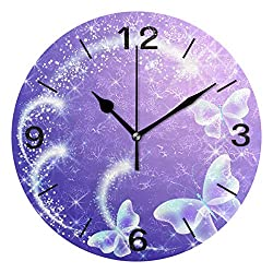 ALAZA Home Decor Butterfly Firework Purple Round Acrylic 9 Inch Wall Clock Non Ticking Silent Clock Art for Living Room Kitchen Bedroom