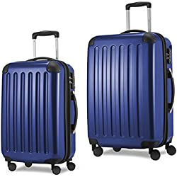 HAUPTSTADTKOFFER Luggages Sets Glossy Suitcase Sets Hardside Spinner Trolley Expandable TSA (20'24') Darkblue