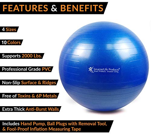 Exercise Ball for Yoga, Balance, Stability from SmarterLife - Fitness, Pilates, Birthing, Therapy, Office Ball Chair, Classroom Flexible Seating - Anti Burst, Non Slip + Workout Guide (Blue, 65cm) by SmarterLife Products (Image #2)