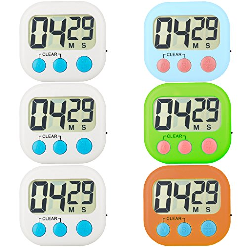 FOREV Kitchen Timer 6 Pack Small Digital Electronic Loud Alarm, Magnetic Backing, ON/OFF Switch, Minute Second Countdown, White, Green, Blue and Orange (4colors) ()