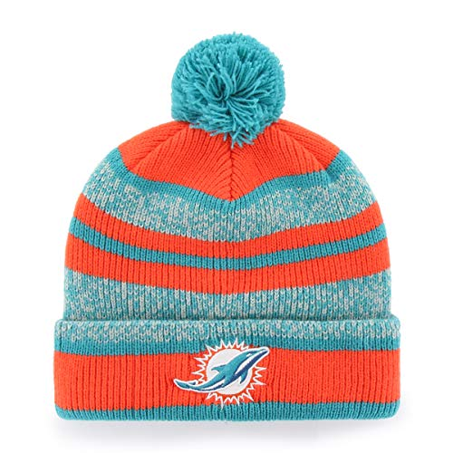 (NFL Miami Dolphins Men's Huset OTS Cuff Knit Cap with Pom, Team Color, One Size)