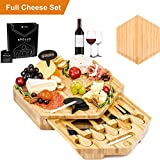 APOLLO 12-Piece Complete Bamboo Cheese Board Serving Set with 5 Cheese Knives and Cheese Markers and Chalk
